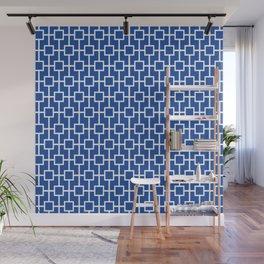 Cobalt Blue Lattice Pattern Design Wall Mural