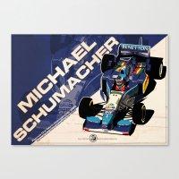 f1 Canvas Prints featuring Michael Schumacher - F1 1995 by Evan DeCiren