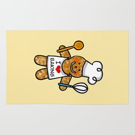 Gingerbread man bakery cookie baker Rug