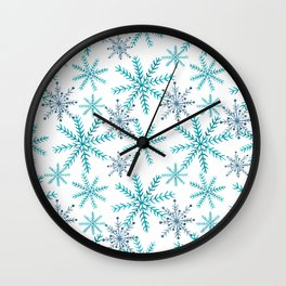 Blue Snowflakes Wall Clock