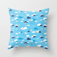 airplanes Throw Pillows featuring Paper Airplanes by Polita
