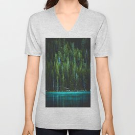 Evergreen Forest on Water (Color) Unisex V-Neck