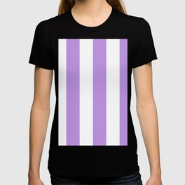 Wide Vertical Stripes - White and Light Violet T-shirt