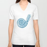 biology V-neck T-shirts featuring AMMONITE COLLECTION by Chicca Besso