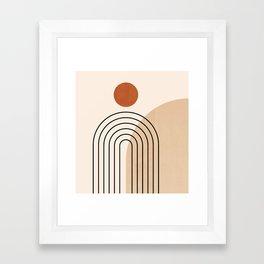 Abstraction_NEW_SUN_DAWN_MOUNTAINS_LINE_POP_ART_008B Framed Art Print
