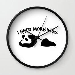 Cute & Funny I Hate Mornings Lazy Panda Wall Clock
