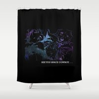 cowboy bebop Shower Curtains featuring Space Cowboy by feimyconcepts05