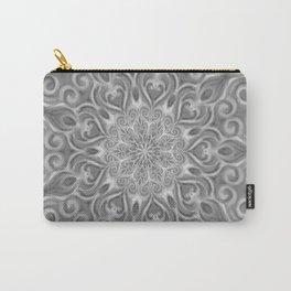 Gray Center Swirl Mandala Carry-All Pouch