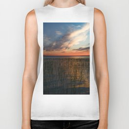 Cloud falls into lake water in sunset sunlight Biker Tank