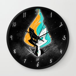 Nightmare/ScribbleNetty (Orange/Turquoise) Wall Clock