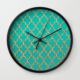 Gold Morrocan Quatrefoil on Turquoise Wall Clock