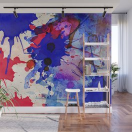 Blue & Red Color Splash Wall Mural