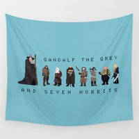 gandalf Wall Tapestries featuring gandalf the grey and seven hobbits by gazonula