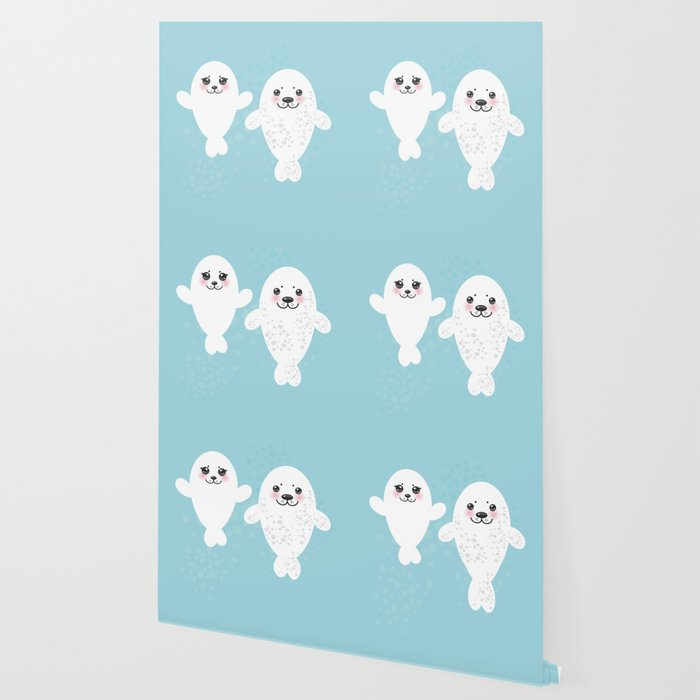 Image of: Dog Set Funny White Fur Seal Pups Cute Winking Seals With Pink Cheeks And Big Eyes Kawaii Animal Wallpaper By Ekaterinap Society6 Society6 Set Funny White Fur Seal Pups Cute Winking Seals With Pink Cheeks