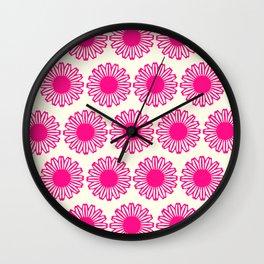 vintage flowers pink  Wall Clock