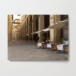 Down the Street in Arezzo Metal Print