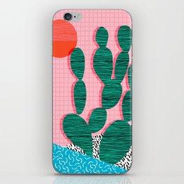 'Sup - cactus throwback retro memphis style neon art print 80s 1980s pop art desert socal palm iPhone Skin
