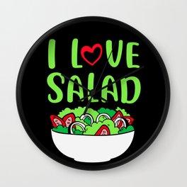 I Love Salat Vegetables Vegetaria Vegan Gift Wall Clock
