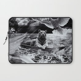 Black and White Tiger Boat Sailing Skylight Laptop Sleeve