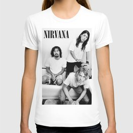 NIRVANA Cobain- Kurt#Cobain ,MUSIC POSTER - PRINT (B&W - DAVE GROH-L, KURTCOBAIN & KRIST NOVOSELIC) T-shirt