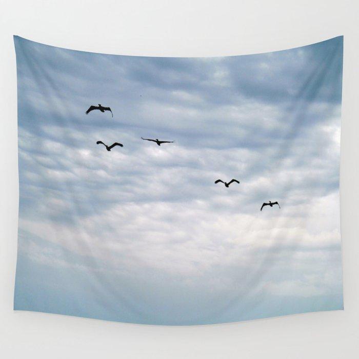 Seabirds In Flight Wall Tapestry