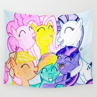 my little pony Wall Tapestries featuring My Little Pony by Maranda Rae