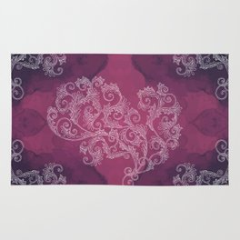 Burgundy with white floral ornament Rug
