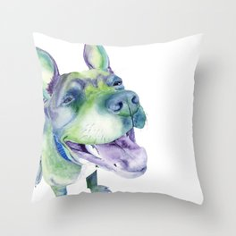 Bluenosed Pitbull Watercolor Painting Throw Pillow