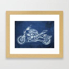 Diavel Carbon Blueprint Framed Art Print