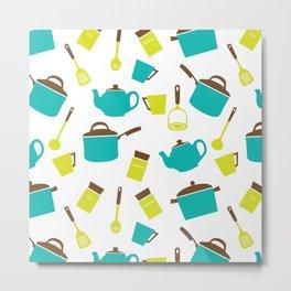 Kitchen Utensils, Cookware, Cutlery - Blue Green Metal Print