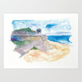 Ajaccio Corsica France - Beach and Fortress Art Print