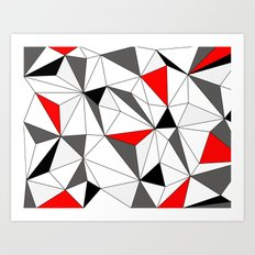 Geo - red, gray, white and black Art Print