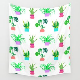 Simple Potted Plants in White Wall Tapestry