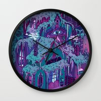 house Wall Clocks featuring December House by Valeriya Volkova