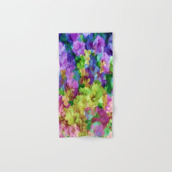 Watercolor Garden Flowers Hand & Bath Towel