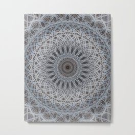 Mandala in silver and grey tones Metal Print