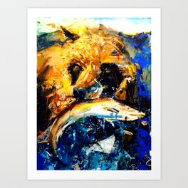 Gon' Fishin. brown. bear. fishing. wildlife. Art Print
