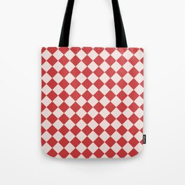 Red and White Checkered Diamond Pattern Tote Bag