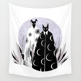 Moon Cat and Sun Dog Wall Tapestry