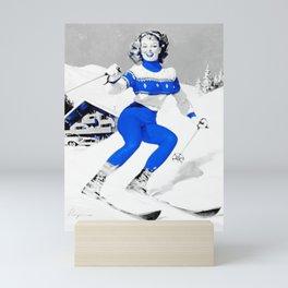 Snow Bunny Pin Up Girl Blue Mini Art Print