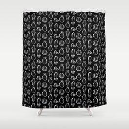 Cactus everywhere black version Shower Curtain