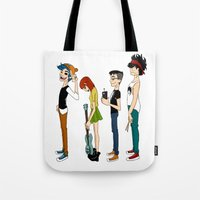 gorillaz Tote Bags featuring Grojband by Hardcore Cuties