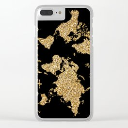 world map gold black wanderlust Clear iPhone Case