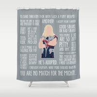 thor Shower Curtains featuring Thor by MacGuffin Designs