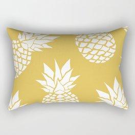 Pineapple, Tropical Hawaii, Sunshine, Yellow and White Rectangular Pillow