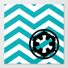 Imperial Cog on Blue Chevrons Canvas Print