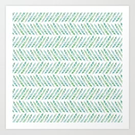 Aquamarine Herringbone Art Print