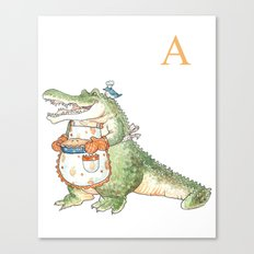 A is for Alligator in an Apron! Canvas Print