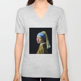 Jan Vermeer Girl With A Pearl Earring Unisex V-Neck