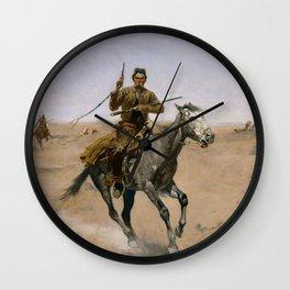 "Frederic Remington Western Art ""The Flight"" Wall Clock"